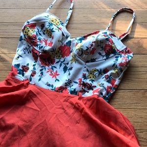 Cute mini dress with bustier top